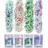 Holographic Effect Nail UV Gel Polish Fine Glitter Sparkles Acrylic Nail Art Manicure Dust 4 Jar Set