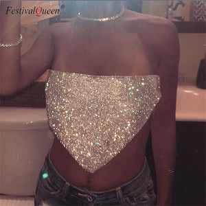 FestivalQueen Sexy Women Silver Sequined Tops Crystal Diamonds Party Club Metal Strapless Rhinestone Summer Crop Top