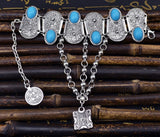 Bohemian Silver Coin Charm Slave Bracelets For Women Floral Blue Gem Beads Bracelet Gypsy Ethnic Tribal Festival Jewelry Turkish