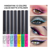 HANDAIYAN Matte Eyeliner Eyes Makeup Delineador Waterproof Liner Pour Yeux White Blue Eye Liner Liquid for Party Mat Eyeshadow