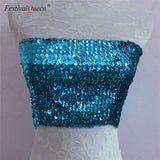 Mermaid Sequin Strapless Bandeau Stretch Top (11 colors)