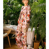 EFIOLY Summer New Women Turn-Down Collar Print Full Sleeve Long Pants Nightwear Sleepwear Home Clothes 3 Piece Pajama Sets