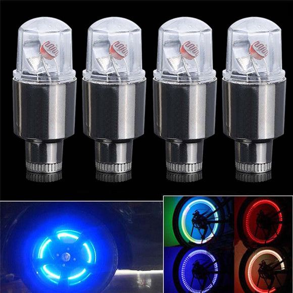 Hot Sales 4Pcs LED neon Car Bike Wheel Tire Tyre Valve Dust Cap Spoke Flash Lights 2017