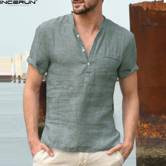 Men's Collarless Short Sleeve Shirt (Blue Khaki Green)