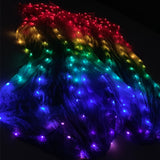 100% Silk LED Rainbow Dance Long Fans Women Belly Dance Costume Performance Props Belly Dance Chinese Dance LED Fans Accessories