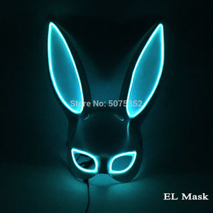 Carnival EL Wire Bunny Mask Masque Masquerade Led Rabbit Mask Night Club Female Mask For Birthday Wedding Party