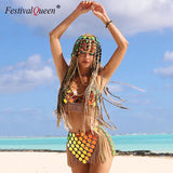 Gradient Color Shiny Sequins Dots Two Piece Set Low Cut Backless Sleeveless Crop Tops Tassel Mini Skirt Sexy Beach Outfits 2020