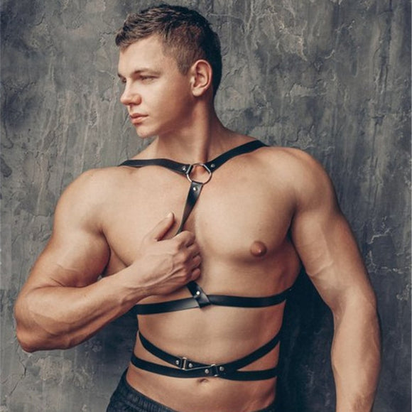 Fetish Men Sexy Leather Gay Harness Gothic Chest Harness Strap Punk Body Bondage Belt Rave Top Costumes for BDSM Bondage Gay