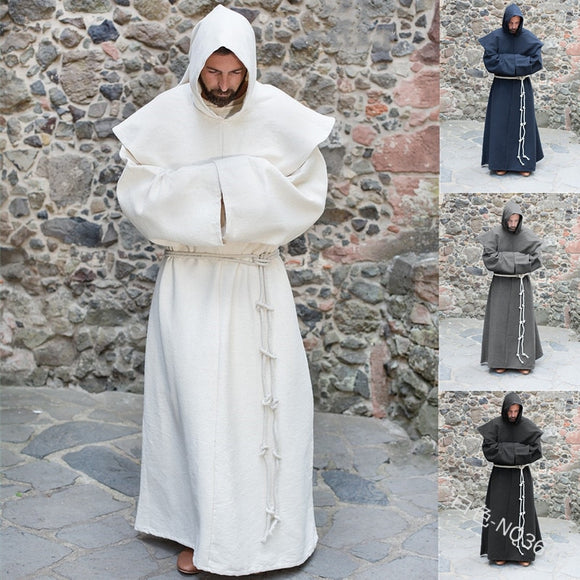 Medieval Monk Church Clergy Pastor Costume Adult Men Priest Hooded Cowl Gown Robe Cape Christian Cloak Halloween Outfit Shawl