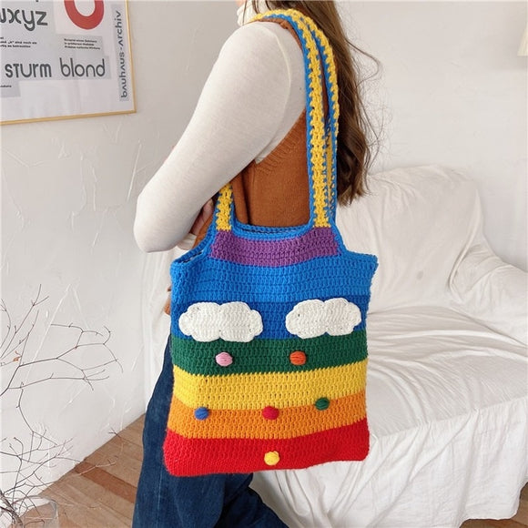 Thailand Rainbow Canvas Messenger Bag Wool Knitting Tote Bags for Girl Cotton Cloth Women Shoulder Bag Lovely Student Handbag
