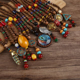 Nepal Wood Beads Statement Necklace