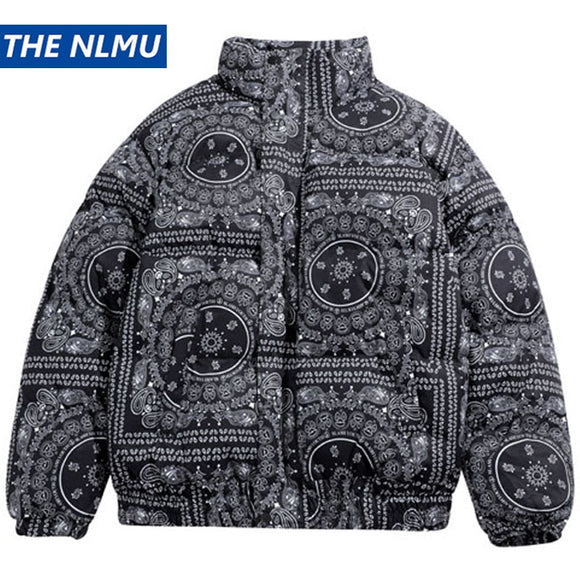 Winter Cotton Padded Parkas Jackets Streetwear Hip Hop Bandana Paisley Pattern Thick Tie Dye Coats Harajuku Outwear WY359