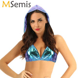 MSemis Women Holographic Top Wetlook Shiny Metallic Backless Hooded Bra Crop Top Ropa Pole Dance Festival Rave Clothes Costume