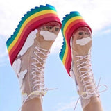 2020 Rainbow Heels Women Boots High Platform Mid Boots For Women Sexy Transparency Pvc Lace Up Party Shoes Woman Boats Mujer