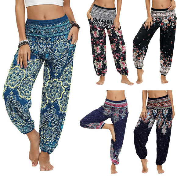 Bohemian Pants Women NEW Fashion Casual Print Sexy High Waist Loose Штаны для йоги Summer Travel Lounge Festival Beach Pants