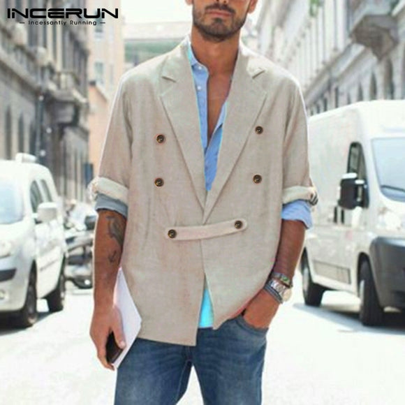 Fashion Long Sleeve Outwear INCERUN Men Vintage Solid Color Blazer Lapel Collar Suit Man Double Breasted Button Coats Streetwear