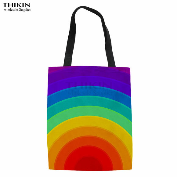 THIKIN Colorful Rainbow Pattern Female Canvas Shopping Bag Custom Lady Organizer Big Capacity Storage Bags for Women Book Bags