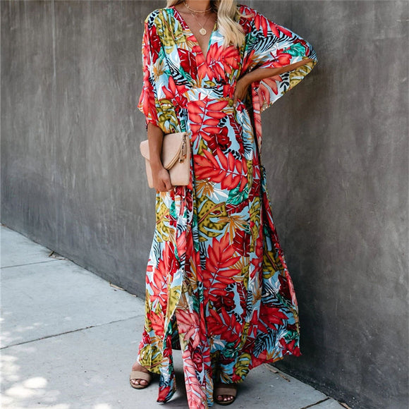 2021 Red Bohemian Floral Printed Half Length Bats Sleeve Summer Beach Wrap Dress Cotton Tunic Women Beachwear Long Dress  N944