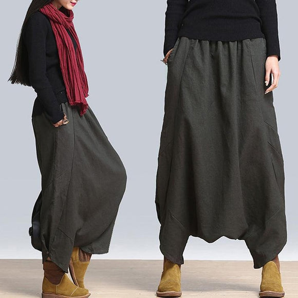 Baggy Harem Pants Women Causal Solid Hippie Joggers Cross-Pants Loose Trousers Aladdin Lantern Wide Leg Cotton Linen Pants Plus