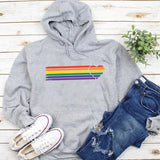 Fashion Design Retro Heart Strip with Gay Pride Rainbow Colours Hoodie pure cotton pullovers t Lgbt Lesbian graphic cute tops