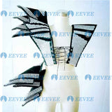Black women sexy performance set female singer dancer gogo costume rivet armor super star sytle stage show wear