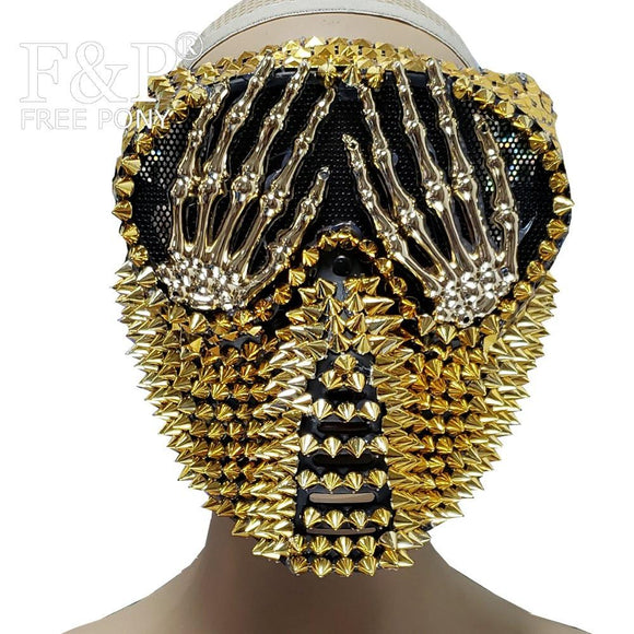 Gold Spike Steampunk Burning Man Festival Motorcrycle  Rider Mask Carnival Costume Gogo Dancer Halloween Accessories