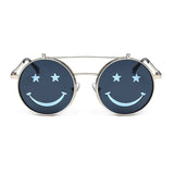 SHAUNA Cute Smiling Face Women Folding Punk Sunglasses Unique Men Double Lens Tinted Steampunk Glasses UV400