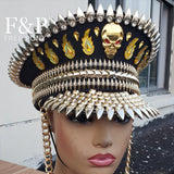 Skull and Flames Linked Chain Military Hat