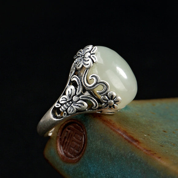 Silver 925 ring Sterling silver woman ring Costume jewelry vintage topaz Vintage butterfly flower inlaid with white jade opening