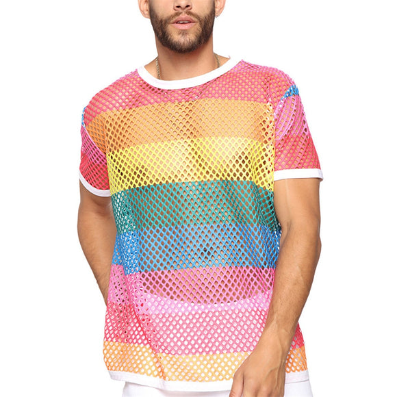 Summer Breathes grid T-shirt Hollow Rainbow color Trend Men's Mesh Round Neck Jersey Short-sleeved Floral T-shirt