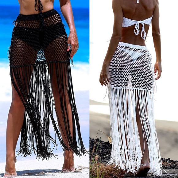 Gypsy Boho Hand Crochet Tassel Skirt, with long fringe Beach Skirt Net Festival clothing