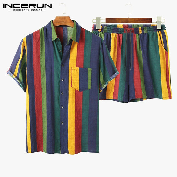 2021 Men Hawaiian Sets Striped Short Sleeve Lapel Button Casual Shirt Beach Shorts Streetwear Breathable Mens Suits INCERUN 7