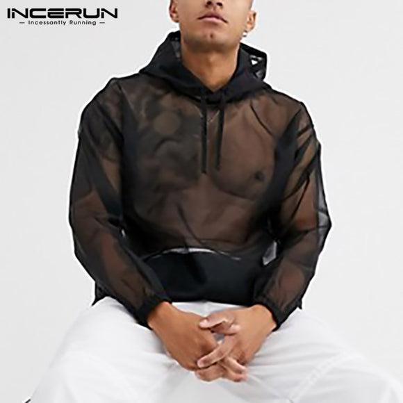 INCERUN Men Mesh T Shirt Hooded See Through Streetwear Long Sleeve Casual Tops Fashion Loose Party Nightclub Mens T-shirts 5XL 7