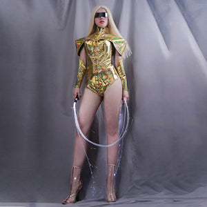 Golden holographic clothes sexy bar nightclub rave DJ DS GOGO dance costume set female singer stage outfit male