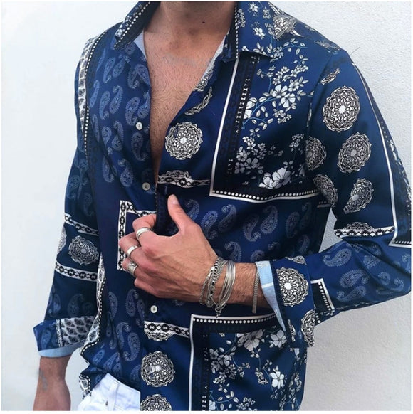 Social Shirt Men Loose Party Club Dress Long Sleeved Male Blouse British Style Hawaiian Shirt Turn-down Collar Tops Camisa 2020