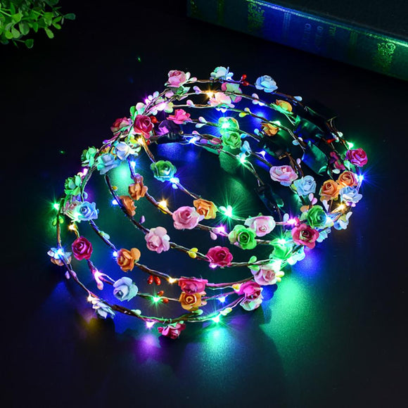 Colorful LED Light Garland Girls Women Birthday Party Concert Headband Hair Accessories Light Up Hair Wreath Hairband Garlands