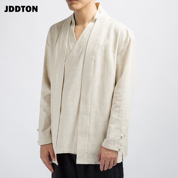 Men Cotton Linen Kimono Loose Fashion Long Cardigan Outerwear Vintage Coats Fake Two Pieces Casual Overcoats JE089