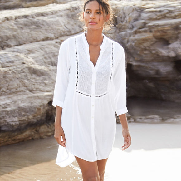 2021 Beach Cover up Cotton White Beach Sarong Bikini Cover up Bathing Suit Women Beachwear Swimsuit Cover up Pareo Tunic #Q833