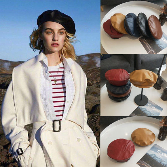 Fashion Women Beret Solid Faux PU Leather Berets French Artist Warm Beanie Hat 2019 Hot New