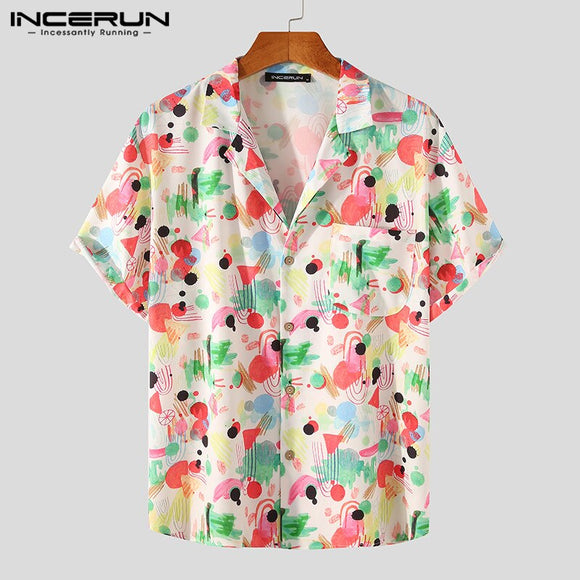INCERUN Summer Men Hawaiian Shirt Printed Turn Down Collar Short Sleeve Camisas Hombre Beach 2021 Breathable Streetwear Shirts
