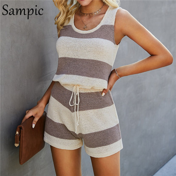 Women V-Neck Knitted Colorblock Top & Drawstring Shorts 2 Pieces Set