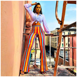 Striped Bright Women Long Pants High Waist Harajuku Flare Pants Sexy Women Casual Slim Trousers Streetwear Rave Festival Fall