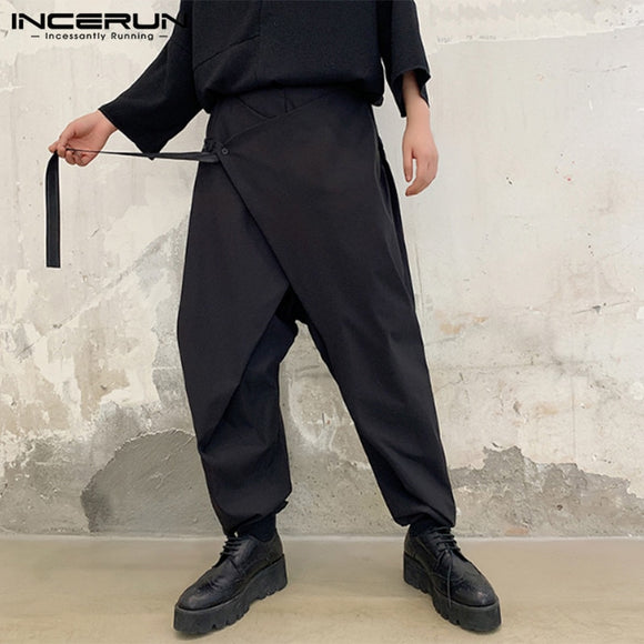 INCERUN Men Harem Pants Solid Punk Style Elastic Waist Joggers Trousers Men Cotton Loose Streetwear Casual Irregular Pants S-5XL