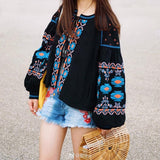 TEELYNN BOHO blouse cotton floral embroidered blouses tassel long lantern sleeve loose Casual hippie women tops blouse and shirt