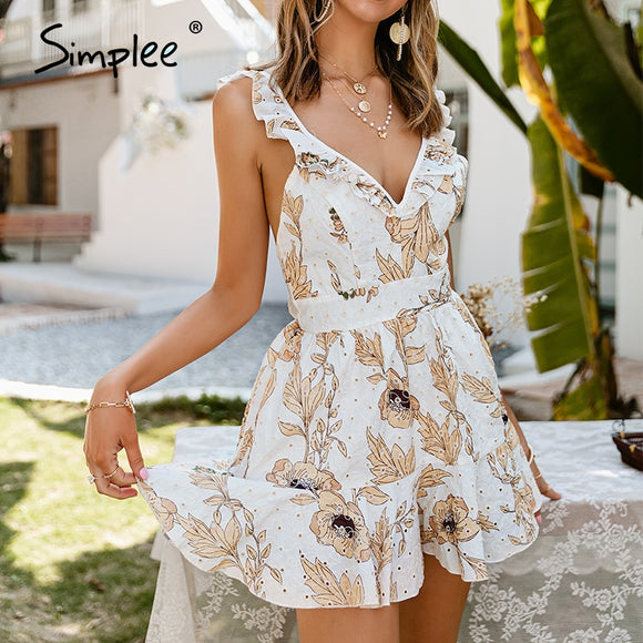 Simplee Sexy deep v-neck women floral print short jumpsuit summer Ruffled elegant high waist romper beach overall holiday 2021