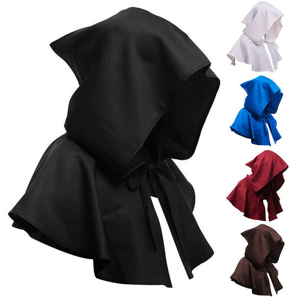 Unisex Cosplay Death Cape Short Hooded Cloak Wizard Witch Medieval Cape Halloween Hats