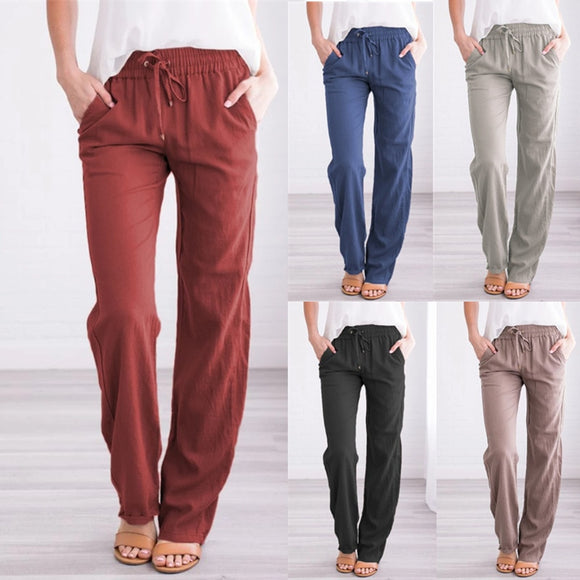 Summer Women's Cotton Linen Drawstring Loose Wide-Leg Pants Long Trousers With Pocket