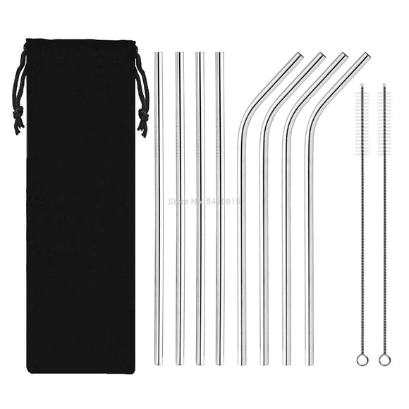High Quality Reusable Metal Drinking Straws 4/8Pcs 304 Stainless Steel Sturdy Bent Straight Drinks StrawCleaner Brush For Mugs