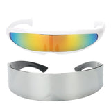 2pcs Fashion Narrow Rainbow Metallic Silver Cyber Robot Alien Eye Glasses Sunglasses Cosplay Halloween Party Gifts