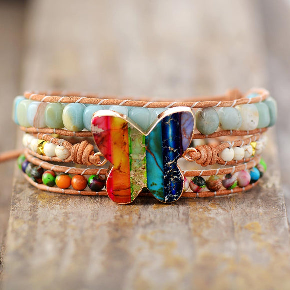 Colorful Rainbow Leather Wrap Bracelets W/ Natural Stone Butterfly 3 Strands Bracelet Jewelry